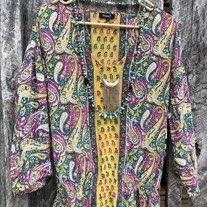 Anthropologie Tolani Silk boho peasant tunic top S